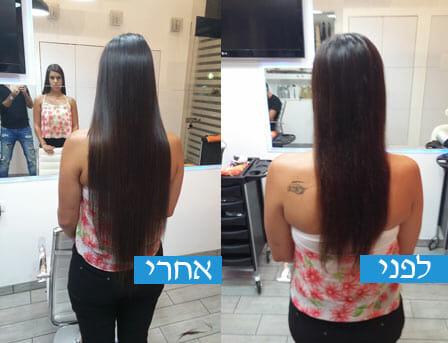 תוספות שיער לפני ואחרי